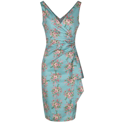 Turquoise Summer Floral Bodycon Wiggle Pencil Dress