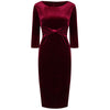 Claret Red Velvet 3/4 Sleeve Gathered Front Bow Pencil Wiggle Dress - Pretty Kitty Fashion