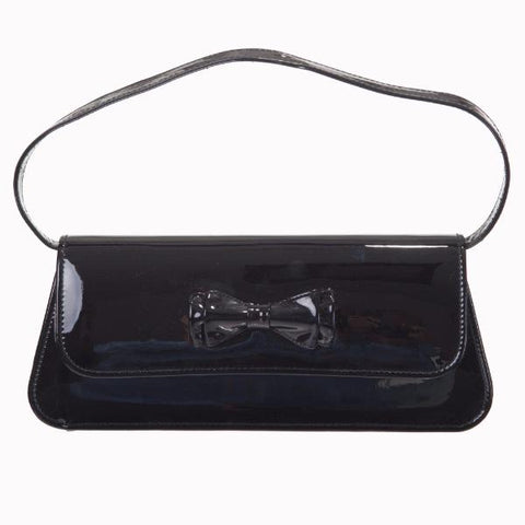 Black Patent Bow Clutch Bag