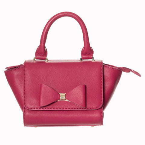 Retro Deep Pink Bow Hand Bag