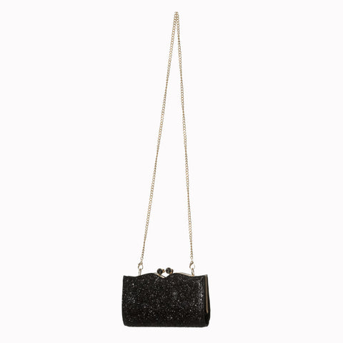 Black Glitter Party Clutch Handbag