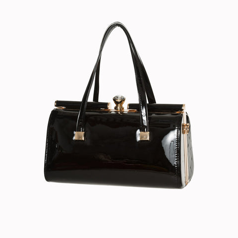 Black Retro Patent Handbag