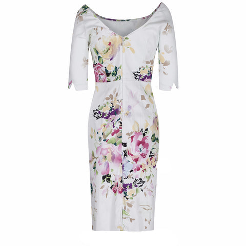 Ivory Floral 1/2 Sleeve Floral Wiggle Pencil Dress - Pretty Kitty Fashion