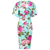 Aqua Blue/Green Floral 1/2 Sleeve 40s Wrap Pencil Wiggle Dress - Pretty Kitty Fashion