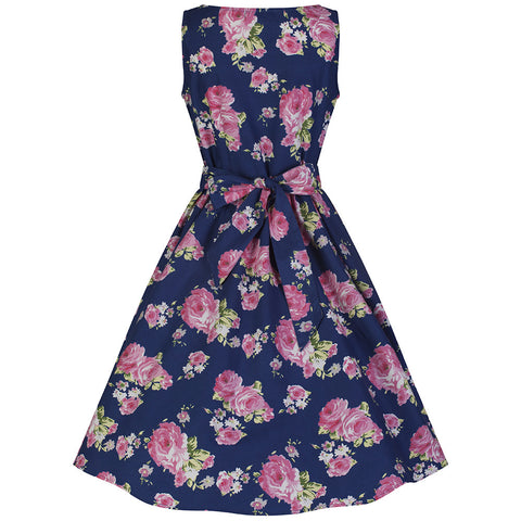Navy Blue and Pink Floral Audrey Swing Dress