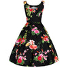 Vintage Black Floral 50s Pin Up Swing Dress