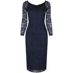 Long Sleeve Navy Blue Lace Wiggle Pencil Dress - Pretty Kitty Fashion