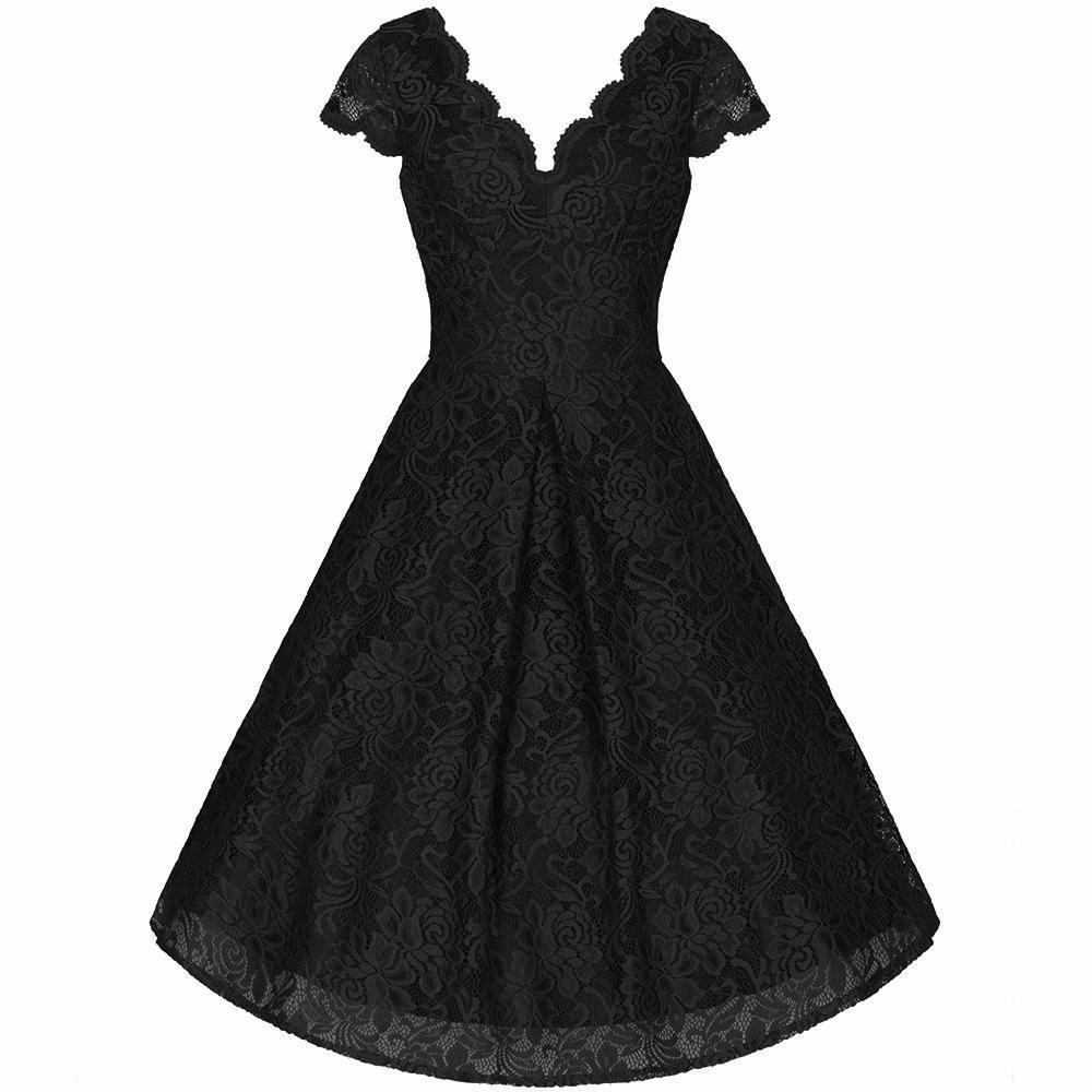 Black Embroidered Lace Scalloped V Neck Capped Sleeve 50s Swing ...