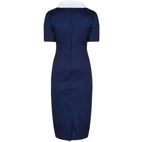Navy Blue and White Nautical Pencil Wiggle Dress
