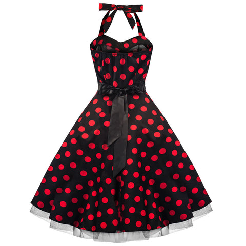 50s Large Red Polka Dot Black Rockabilly Swing Prom Pin-Up Dress - Pretty Kitty Fashion