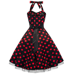 Black and Red Polka Dot Rockabilly 50s Swing Prom Pin-Up Dress