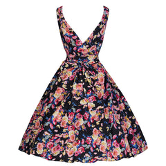 Pretty Kitty Black Floral Party Swing Dress