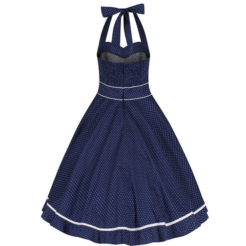 Navy Blue and White Polka Dot Vintage Swing Dress