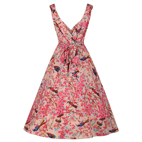 Soft Pink Bird Print Swing Dress