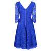 Jolie Moi Royal Blue 3/4 Sleeve V Neck Embroidered Lace 50s Swing Dress - Pretty Kitty Fashion