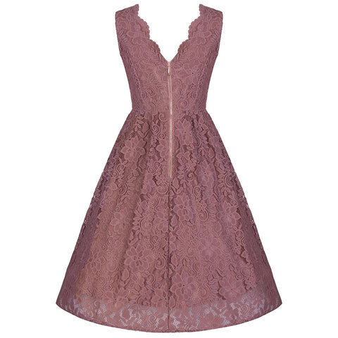 Dusky Pink Lace Embroidered Dress - Pretty Kitty Fashion