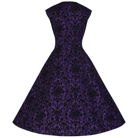 Purple & Black Flock Swing Dress