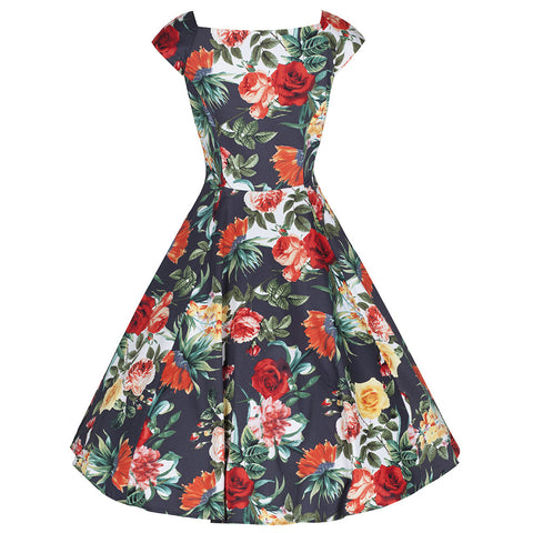 Charcoal Red Rose Vintage Rockabilly Swing Dress - Pretty Kitty Fashion