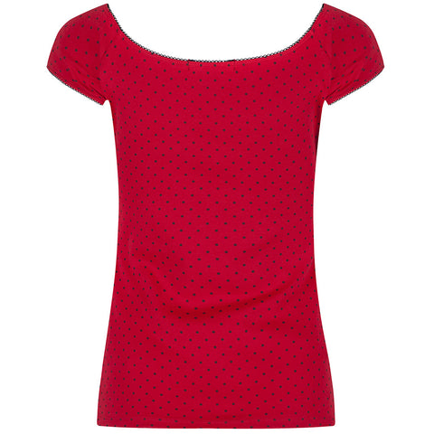 Red Polka Dot Tie Front Top