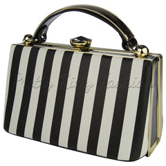 Black White Stripe Handbag - Pretty Kitty Fashion