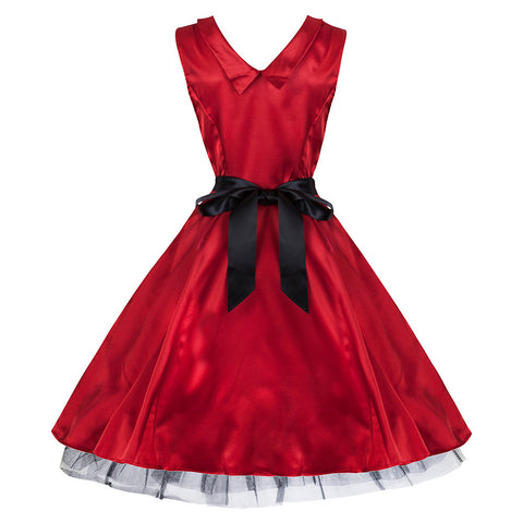 50's Rockabilly Red Satin Dress - Pretty Kitty Fashion