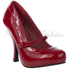 Pin Up Couture Red Patent Retro Mary Jane High Heels