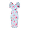 Sky Blue Pink Floral Print Short Sleeve Summer Bodycon Wiggle Dress