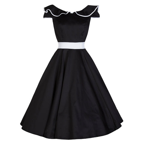 Pretty Kitty Black White Panel Collared Swing Dress