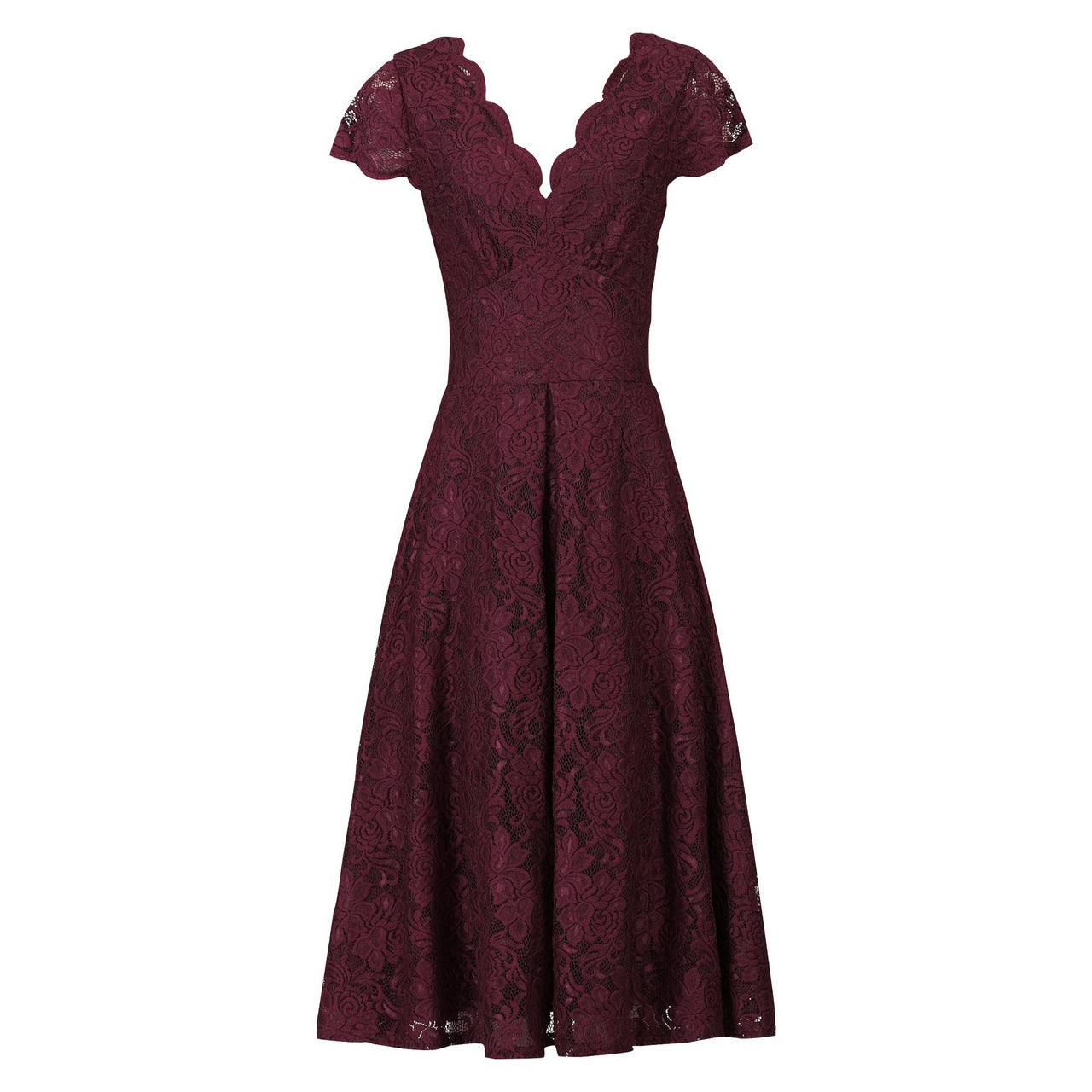 1b0a6995acbb Burgundy Red Cap Sleeve Scallop Neck Embroidered Lace 50s Bridesmaid Swing  Dress