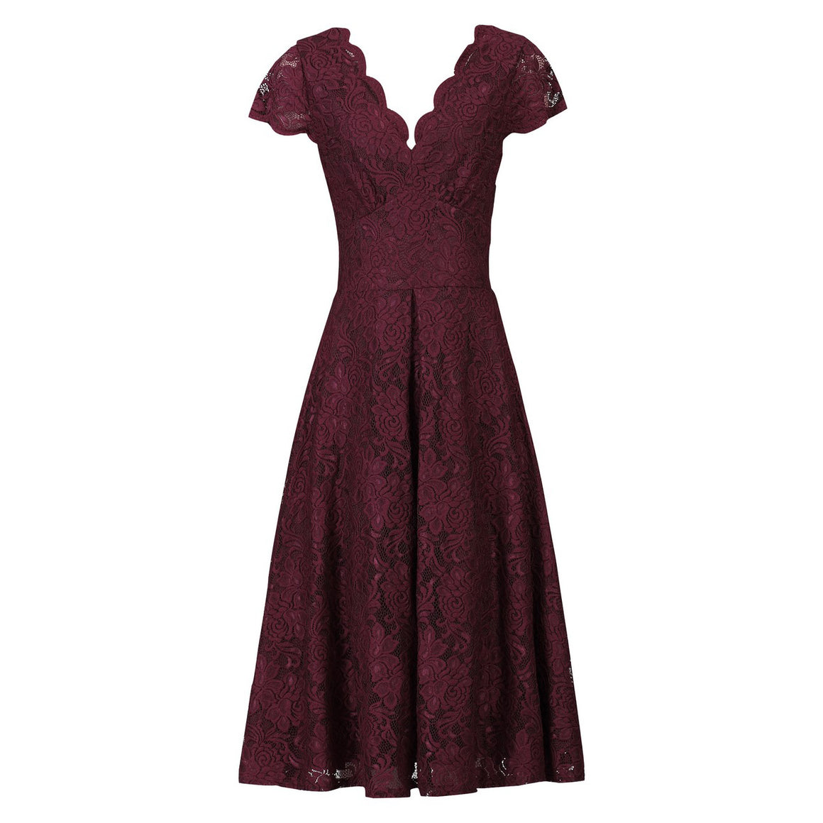Burgundy Red Cap Sleeve Scallop Neck Embroidered Lace 50s Swing Dress - Pretty Kitty Fashion