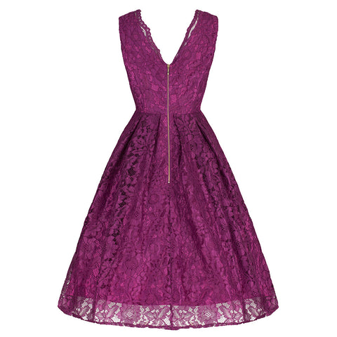 Purple Stunning Lace Embroidered Dress