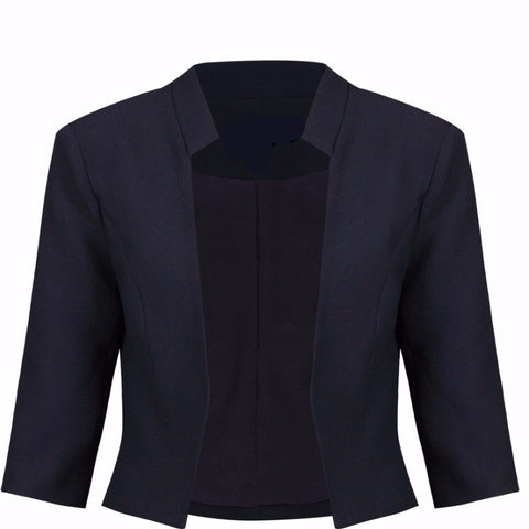 Navy Blue 3/4 Sleeve Blazer Jacket