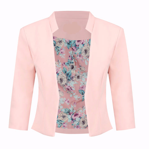 Peach Pink 3/4 Sleeve Blazer Jacket