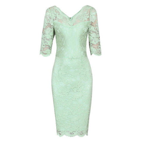 Mint Green V Neck 3/4 Sleeve Vintage Lace Bodycon Wiggle Pencil Dress