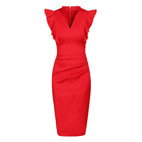 Deep Orange Ruffle Shoulder Bodycon Pencil Dress