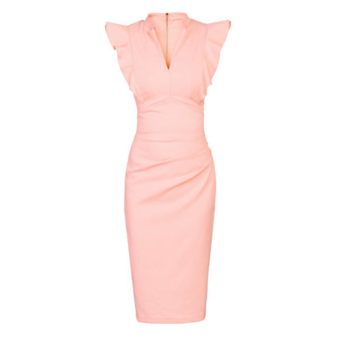 Light Pink Ruffle Shoulder Bodycon Pencil Dress