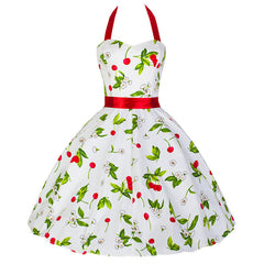 White Cherry Rockabilly 50s Pin-Up Prom Swing Dress