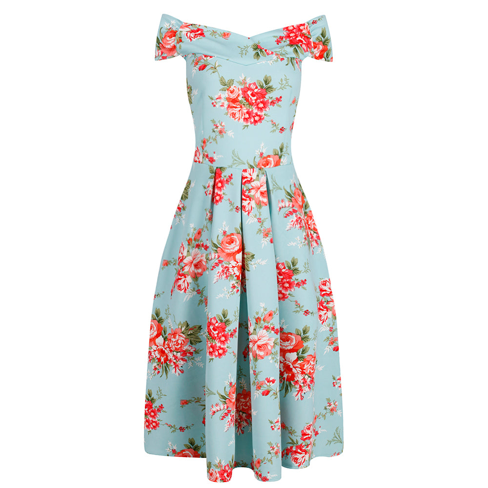 870481996809 Turquoise Blue Floral Print Cap Sleeve Crossover Top 50s Swing Bardot -  Pretty Kitty Fashion