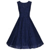 Navy Blue Bonded Lace Sleeveless Prom Dress