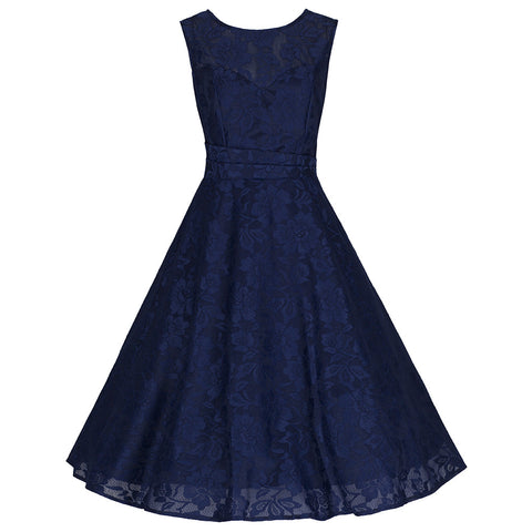 Navy Blue Lace Sleeveless Audrey Swing Dress