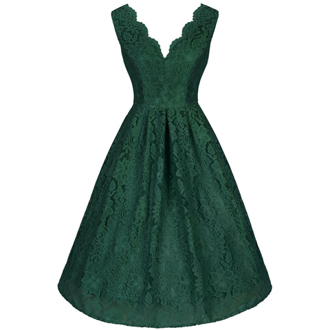 Emerald Green Lace Embroidered Dress - Pretty Kitty Fashion
