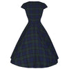 Green and Blue Woven Tartan Check Rockabilly Burns 50s Swing Dress - Pretty Kitty Fashion