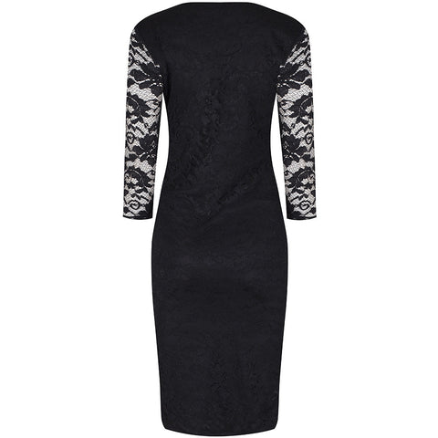 3/4 Sleeve Vintage Black Lace Bodycon Wiggle Dress - Pretty Kitty Fashion