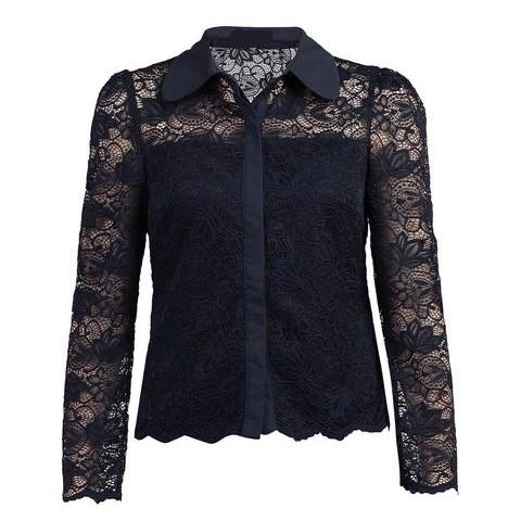 Navy Blue Lace Button Front Long Sleeve Blouse Cardigan