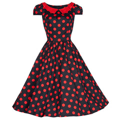 Pretty Kitty Black Red Polka Dot Swing Dress
