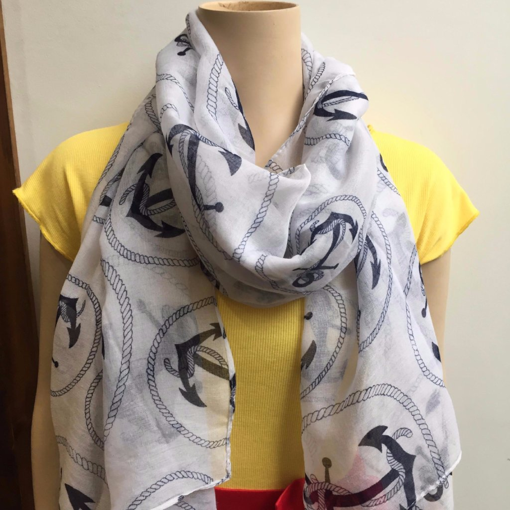 White Navy Nautical Scarf / Shawl