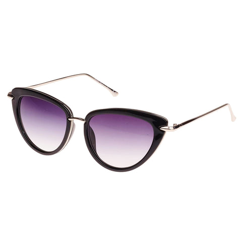 Black Silver Trim Retro Cat Eye Sunglasses