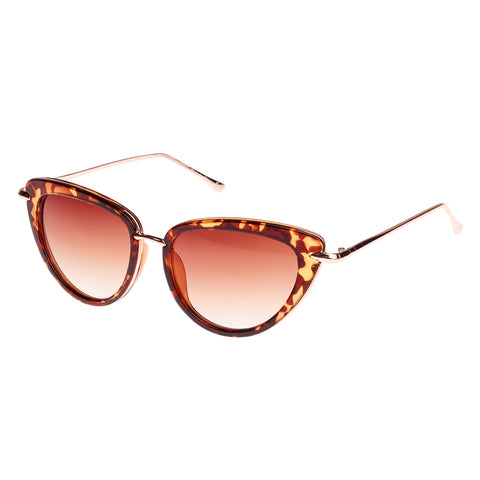 Tortoiseshell Silver Trim Retro Cat Eye Sunglasses