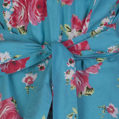 Turquoise Blue and Pink Floral Halterneck Swing Dress