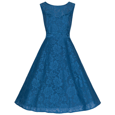 Teal Blue Sleeveless Lace Audrey Swing Dress